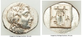 LYCIAN LEAGUE. Masicytes. Ca. 48-20 BC. AR hemidrachm (14mm, 2.00 gm, 11h). About XF. Series 1. Laureate head of Apollo right; Λ-Y below / M-A, cithar...