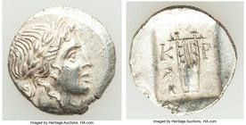 LYCIAN LEAGUE. Cragus. Ca. 48-20 BC. AR hemidrachm (15mm, 1.67 gm, 12h). Choice XF. Series 3. Laureate head of Apollo right; Λ-Y below / K-P, cithara ...