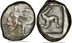 PAMPHYLIA. Aspendus. Ca. mid-5th century BC. AR stater (21mm, 11h). NGC VF. Helmeted nude hoplite advancing right, shield in left hand, spear forward ...