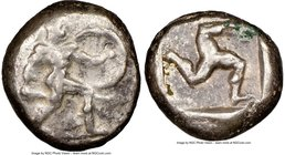 PAMPHYLIA. Aspendus. Ca. mid-5th century BC. AR stater (19mm, 11h). NGC Choice Fine. Helmeted nude hoplite warrior advancing right, shield in left han...
