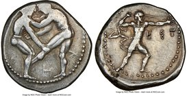 PAMPHYLIA. Aspendus. Ca. 420-380 BC. AR stater (24mm, 5h). NGC VF, scuff. Two nude wrestlers competing, wrestler on left holding right knee and chest ...