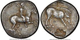 PAMPHYLIA. Aspendus. Ca. 420-360 BC. AR drachm (18mm, 5.27 gm, 5h). NGC XF 5/5 - 3/5, countermarks. Warrior on horseback rearing right, preparing to c...