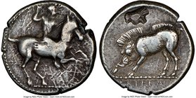 PAMPHYLIA. Aspendus. Ca. 420-360 BC. AR drachm (18mm, 5.37 gm, 9h). NGC VF 4/5 - 3/5, countermark. Warrior on horseback rearing right, preparing to ca...