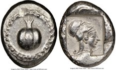 PAMPHYLIA. Side. Ca. 5th century BC. AR stater (22mm, 7h). NGC AU, countermark. Ca. 430-400 BC. Pomegranate; guilloche beaded border / Head of Athena ...