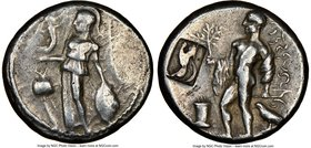 PAMPHYLIA. Side. Ca. 380-333 BC. AR stater (22mm, 12.57 gm, 12h). NGC Choice VF 5/5 - 3/5, countermark. Athena standing left, Nike right in right hand...
