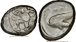CILICIA. Mallus. Ca. 440-385 BC. AR stater (22mm, 9h). NGC VF. Bearded male, winged, in kneeling/running stance left, holding solar disk with both han...
