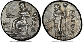 CILICIA. Nagidus. Ca. 400-333 BC. AR stater (24mm, 10.69 gm, 9h). NGC AU 4/5 – 4/5. Aphrodite, wearing turreted crown, seated left, holding phiale in ...