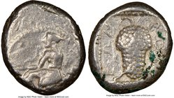 CILICIA. Soloi. Ca. 440-400 BC. AR stater (21mm, 6h). NGC VF. Amazon, nude to waist, on one knee left, wearing pointed cap, bowcase attached to belt, ...