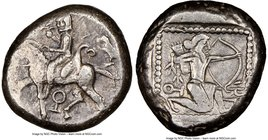 CILICIA. Tarsus. Ca. late 5th century BC. AR stater (20mm, 10.59 gm, 10h). NGC XF 4/5 - 5/5. Satrap on horseback riding left, reins in left hand, lotu...