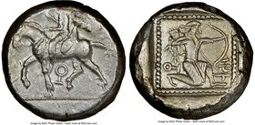 CILICIA. Tarsus. Ca. late 5th century BC. AR stater (20mm, 5h). NGC Choice VF. Satrap on horseback riding left, reins in left hand, lotus upward in ri...