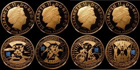 Countdown to the London Olympic Games, a 4-coin set in gold, Five Pound Crowns (4) 2009 3-Year Countdown Gold Proof S.4920, 2010 2-Year Countdown S.49...