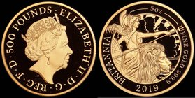 Five Hundred Pounds 2019 Britannia Five Ounce (.999 Fine) Gold Proof, in an oversized PCGS holder, choice and graded PR69 Deep Cameo