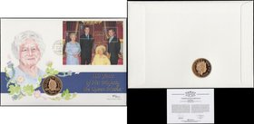Numismatic First Day Cover Queen Mother 100th Birthday comprising Five Pound Crown 2000 Gold Proof FDC and 4x 27 pence stamps UNC on the envelope of i...