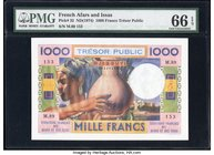French Afars & Issas Tresor Public, Djibouti 1000 Francs ND (1974) Pick 32 PMG Gem Uncirculated 66 EPQ. Distinct contrasting inks highlight this brigh...