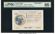 French India Banque de l'Indochine 1 Roupie 8.9.1945 Pick 4s Specimen PMG Gem Uncirculated 66 EPQ. A lovely example of this small change note. The pas...
