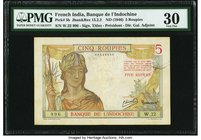 French India Banque de l'Indochine 5 Roupies ND (1946) Pick 5b PMG Very Fine 30. Printed in France, these notes were only issued for a short time in F...