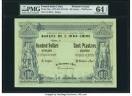 "French Indochina Banque de l'Indo-Chine 100 Dollars = 100 Piastres 21.1.1875 (ND c.1877-93) Pick 23pe ""Printer's Essay"" PMG Choice Uncirculated 64 EPQ..."