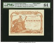French Indochina Banque de l'Indo-Chine, Saigon 1 Piastre 1891 (ND 1909-21) Pick 34s Specimen PMG Choice Uncirculated 64. An interesting and scarce te...