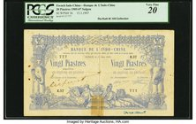 French Indochina Banque de l'Indo-Chine, Saigon 20 Piastres 15.3.1907 Pick 36 PCGS Very Fine 20. A great rarity that is seldom offered in any grade, a...