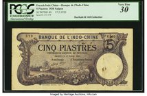 French Indochina Banque de l'Indo-Chine, Saigon 5 Piastres 17.2.1920 Pick 40 PCGS Very Fine 30. A handsome, much above average example of this popular...