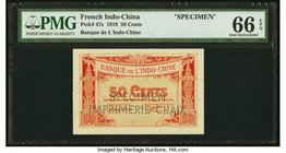 French Indochina Banque de l'Indo-Chine 50 Cents 6.10.1919 Pick 47s Specimen PMG Gem Uncirculated 66 EPQ. Of the 12 examples graded in the PMG Populat...