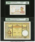 French Indochina Banque de l'Indo-Chine 1 Piastre ND (1946) Pick 54cs Specimen PMG Choice Uncirculated 63; Banque de l'Indo-Chine 100; 500 Piastres ND...