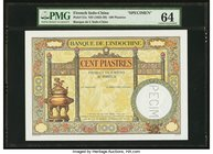French Indochina Banque de l'Indo-Chine 100 Piastres ND (1925-39) Pick 51s Specimen PMG Choice Uncirculated 64. A handsome Specimen, which is void of ...