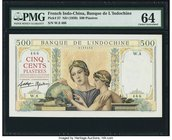 French Indochina Banque de l'Indo-Chine 500 Piastres ND (1939) Pick 57 PMG Choice Uncirculated 64. A handsome and unusually choice issued banknote tha...