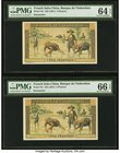French Indochina Banque de l'Indo-Chine 5 Piastres ND (1951) Pick 75r Two Remainders PMG Choice Uncirculated 64 EPQ; Gem Uncirculated 66 EPQ. A pack f...