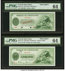 French Indochina Banque de l'Indo-Chine 50 Piastres ND (1945) Pick 77s Two Specimens PMG Choice Uncirculated 64 (2). A handsome pair of Specimens that...