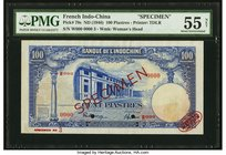 French Indochina Banque de l'Indo-Chine 100 Piastres ND (1946) Pick 79s Specimen PMG About Uncirculated 55 Net. A handsome and rare design that is sel...