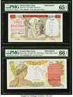 French Indochina Banque de l'Indo-Chine 20; 100 Piastres ND (1949); ND (1947-49) Pick 81s; 82as Two Specimens PMG Gem Uncirculated 65 EPQ; Gem Uncircu...