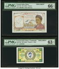 French Indochina Institut D'Emission 1 Piastre; 1 Piastre = 1 Riel ND (1953); ND (1952) Picks 92s; 93s Two Specimens PMG Gem Uncirculated 66 EPQ; Choi...