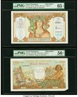 French Somaliland Banque de l'Indochine 100; 1000 Francs ND (ca. 1928-38); ND (1938) Picks 8s; 10s Two Specimens PMG Gem Uncirculated 65 EPQ; About Un...