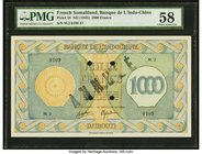 French Somaliland Banque de l'Indochine, Djibouti 1000 Francs ND (1945) Pick 18 PMG Choice About Unc 58. At the time of cataloging, there are only fiv...