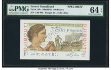 French Somaliland Banque de l'Indochine 100 Francs ND (1946) Pick 19As Specimen PMG Choice Uncirculated 64 EPQ. While typically offered a couple times...