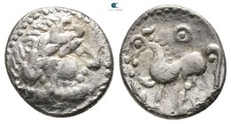 "Eastern Europe. Imitation of Philip II of Macedon circa 300-100 BC. ""Kugelwange"" type. Drachm AR"