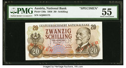 Austria Austrian National Bank 20 Schilling 1956 Pick 136s PMG About Uncirculated 55. Foreign substance; small tears.  HID09801242017