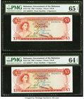 Bahamas Bahamas Government 3 Dollars 1965 Pick 19a Two Consecutive Examples PMG Gem Uncirculated 65 EPQ; Choice Uncirculated 64 EPQ.   HID09801242017