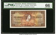 Bermuda Bermuda Government 5 Shillings 1.5.1957 Pick 18b PMG Gem Uncirculated 66 EPQ.   HID09801242017