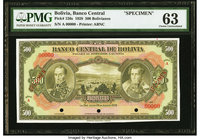 Bolivia Banco Central 500 Bolivianos 20.7.1928 Pick 126s Specimen PMG Choice Uncirculated 63. Three POCs.  HID09801242017