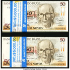 Brazil Banco Central Do Brasil 50 Cruzeiros on 50 Cruzados Novos ND (1990) Pick 223 Two Packs of 100 Crisp Uncirculated.   HID09801242017