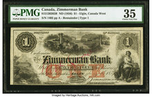 "Canada Elgin, CW- Zimmerman Bank $1 ND (1856) Ch.# 815-12-02-02R Remainder PMG Choice Very Fine 35. Falsely filled in ""Not Good"" annotations.  HID0980..."