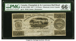 Canada Montreal, LC Champlain & St. Lawrence Rail Road 7 1/2 (15 Sous) Pence 1.8.1837 QC-80-12-02R Remainder PMG Gem Uncirculated 66 EPQ.   HID0980124...