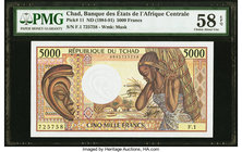 Chad Banque Des Etats De L'Afrique Centrale 5000 Francs ND (1984-91) Pick 11 PMG Choice About Unc 58 EPQ.   HID09801242017