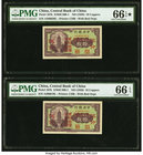 China Central Bank of China 10 Coppers ND (1928) Pick 167b S/M#C300-1 Two Consecutive Examples PMG Gem Uncirculated 66 EPQ S; Gem Uncirculated 66 EPQ....