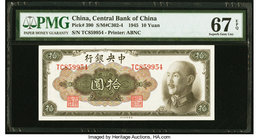 China Central Bank of China 10 Yuan 1945 Pick 390 S/M#C302-4 PMG Superb Gem Unc 67 EPQ.   HID09801242017