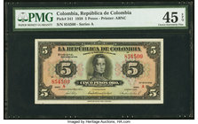 Colombia Banco de la Republica 5 Pesos Oro 20.3.1938 Pick 341 PMG Choice Extremely Fine 45 EPQ.   HID09801242017