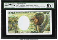 Congo Republique Populaire du Congo 10,000 Francs ND (1983) Pick 7 PMG Superb Gem Unc 67 EPQ.   HID09801242017