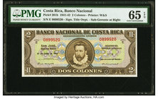 Costa Rica Banco Nacional 2 Colones 15.7.1942 Pick 201b PMG Gem Uncirculated 65 EPQ.   HID09801242017